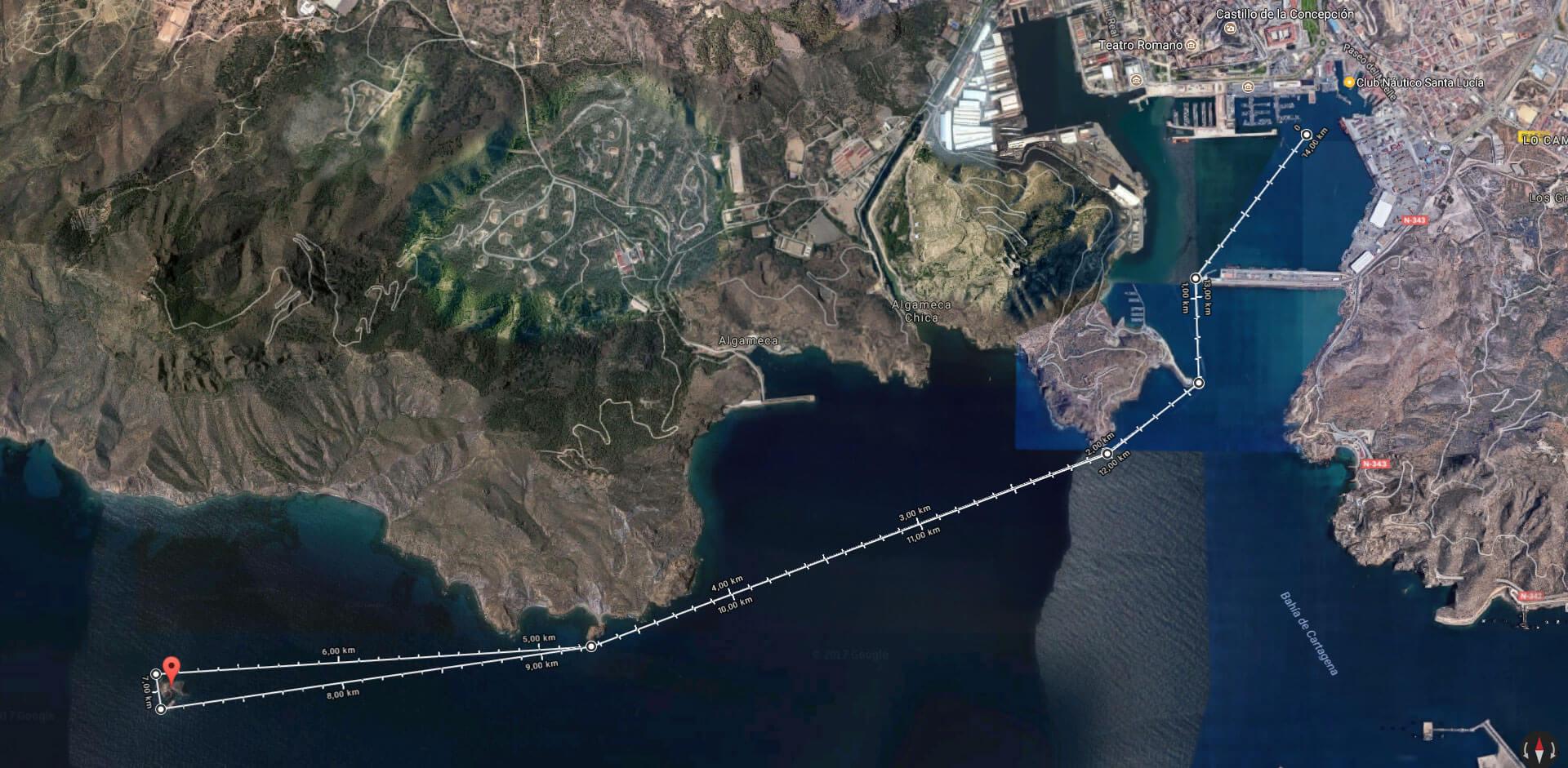 Recorrido Travesía Santa Lucía - Isla de las Palomas - Santa Lucía
